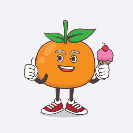 An illustration of Mandarin Orange cartoon mascot character eating an ice cream