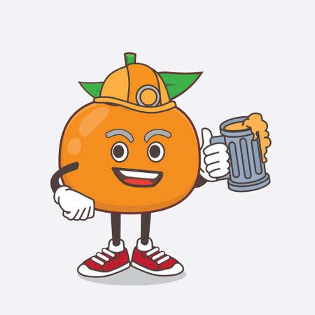 An illustration of Mandarin Fruit cartoon mascot character as cool miner Ilustração Vetorial