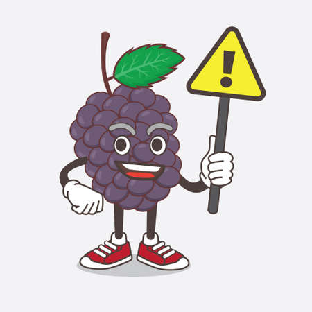 An illustration of Mulberry Fruit cartoon mascot character rise up a warning sign