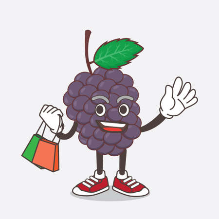 An illustration of Mulberry Fruit cartoon mascot character waving and holding Shopping bags