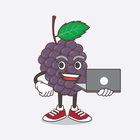An illustration of Mulberry Fruit cartoon mascot character working with laptop