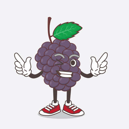 An illustration of Mulberry Fruit cartoon mascot character with Winking eye