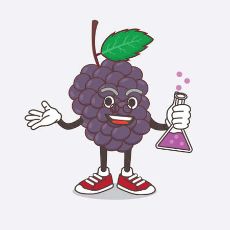 An illustration of Mulberry Fruit cartoon mascot professor character with glass tube