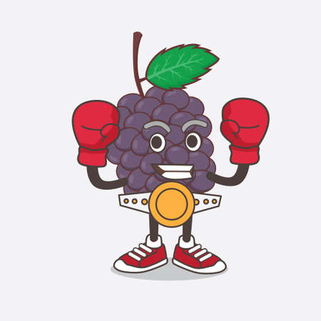 An illustration of Mulberry Fruit cartoon mascot character in sporty boxing style