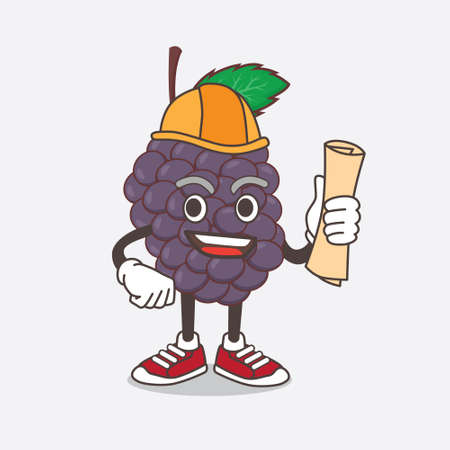 An illustration of Mulberry Fruit architect cartoon mascot character having blueprints and yellow helmet