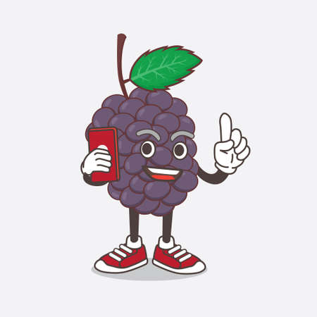 An illustration of Mulberry Fruit cartoon mascot character speaking on the phone