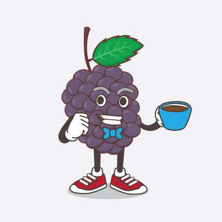 An illustration of Mulberry Fruit cartoon mascot character with a cup of coffee