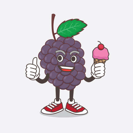 An illustration of Mulberry Fruit cartoon mascot character eating an ice cream Çizim