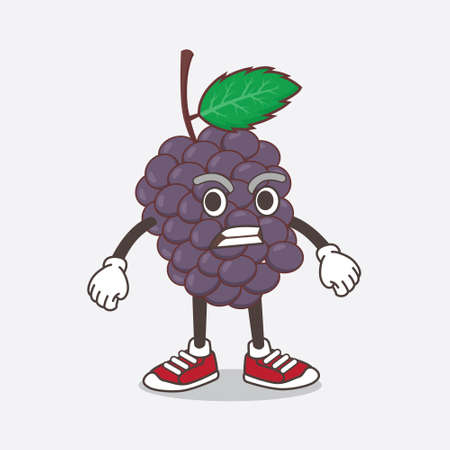 An illustration of Mulberry Fruit cartoon mascot character with angry face
