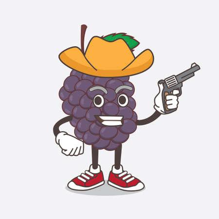 An illustration of Mulberry Fruit cartoon mascot character holding gun