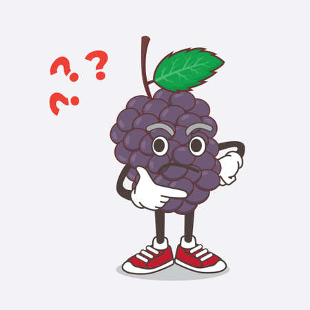 An illustration of Mulberry Fruit cartoon mascot character in a confused gesture Çizim