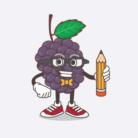 An illustration of Mulberry Fruit cartoon mascot character holding pencil Illusztráció