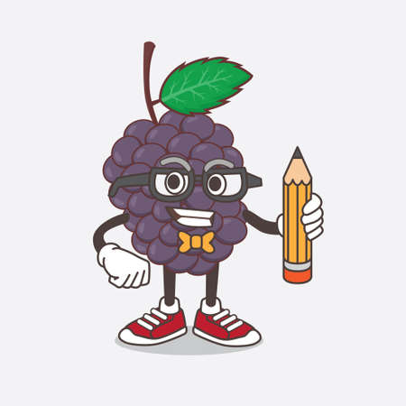 An illustration of Mulberry Fruit cartoon mascot character holding pencil Illustration
