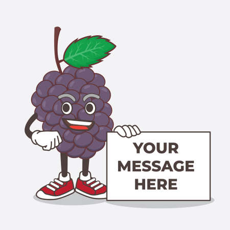 An illustration of Mulberry Fruit cartoon mascot character holding a board sign message Çizim