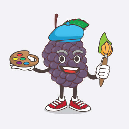 An illustration of Mulberry Fruit cartoon mascot character painter style with art brush