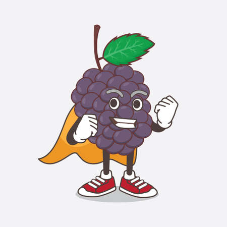 An illustration of Mulberry Fruit cartoon mascot character dressed as a Super hero