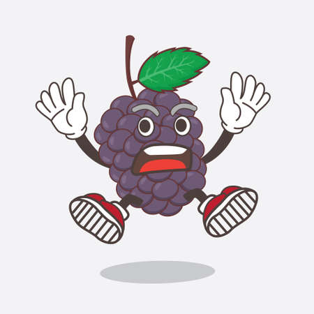 An illustration of Mulberry Fruit cartoon mascot character with shocked gesture