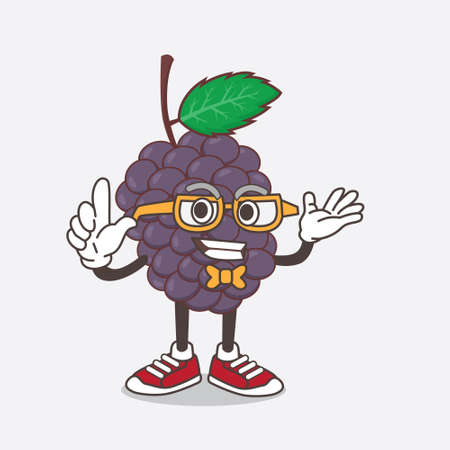 An illustration of Mulberry Fruit cartoon mascot character in geek style Çizim