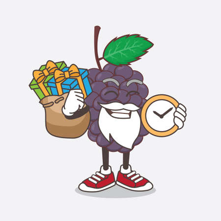 An illustration of Mulberry Fruit cartoon santa mascot character having a sack of gifts