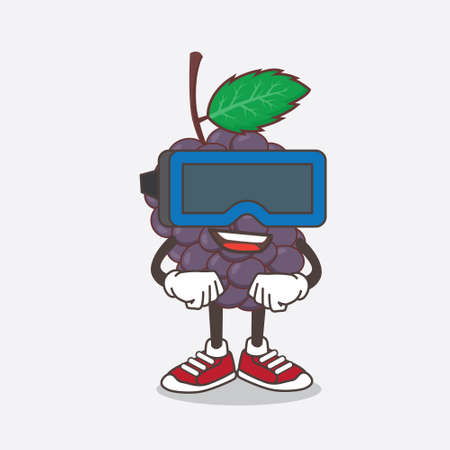 An illustration of Mulberry Fruit cartoon mascot character with Virtual reality headset