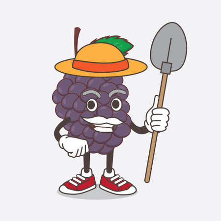 An illustration of Mulberry Fruit cartoon mascot character with hat and farmer tools