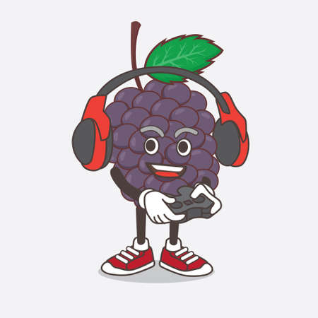 An illustration of Mulberry Fruit cartoon mascot character play a game with headphone and controller