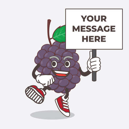 An illustration of Mulberry Fruit cartoon mascot character with board sign message