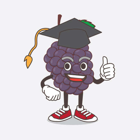 An illustration of Mulberry Fruit cartoon mascot character in a black Graduation hat