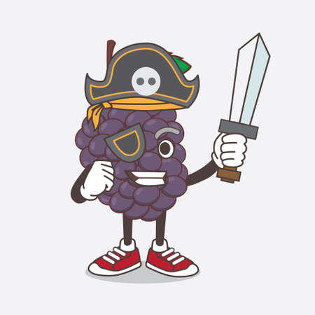 An illustration of Mulberry Fruit cartoon mascot character in pirate style and wearing hat and sword Çizim