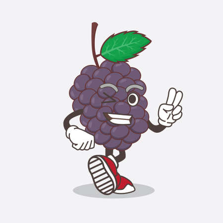 An illustration of Mulberry Fruit cartoon mascot character with two fingers