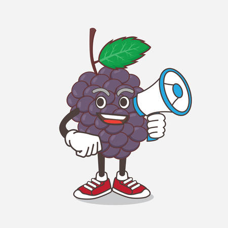 An illustration of Mulberry Fruit cartoon mascot character holding a megaphone Çizim