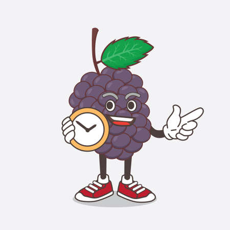 An illustration of Mulberry Fruit cartoon mascot character holding a clock