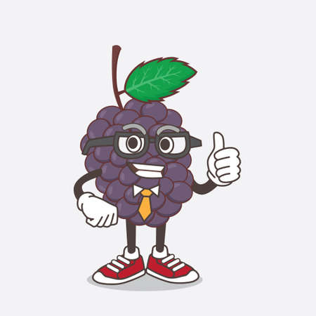 An illustration of Mulberry Fruit cartoon businessman mascot character wearing tie and glasses