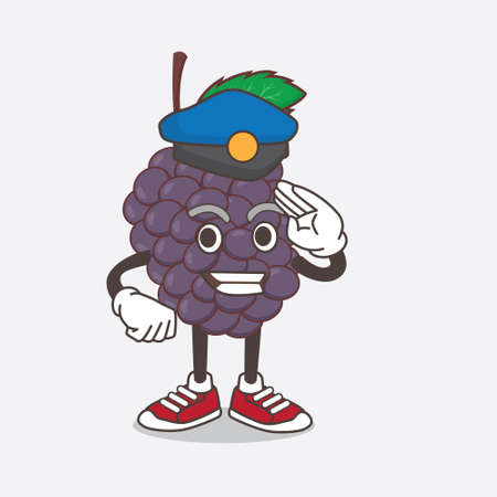 An illustration of Mulberry Fruit cartoon mascot character working as a Police officer Çizim