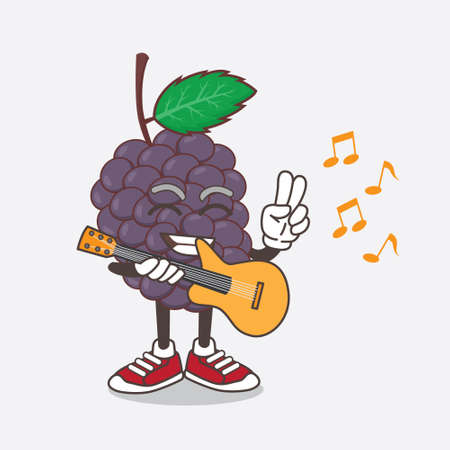 An illustration of Mulberry Fruit cartoon mascot character playing a guitar