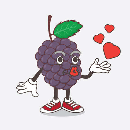 An illustration of Mulberry Fruit cartoon mascot character teasing with heart kiss