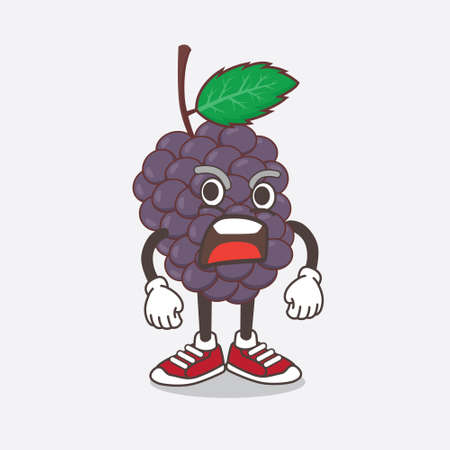 An illustration of Mulberry Fruit cartoon mascot character with a surprised gesture