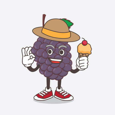 An illustration of Mulberry Fruit cartoon mascot character holding ice cream