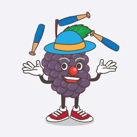 An illustration of Mulberry Fruit cartoon mascot character play Juggling