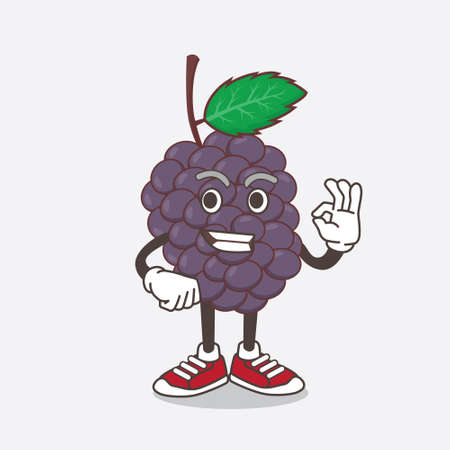 An illustration of Mulberry Fruit cartoon mascot character with calling gesture