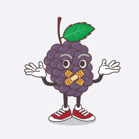 An illustration of Mulberry Fruit cartoon mascot character making a silent gesture Çizim