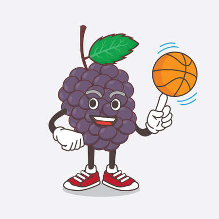 An illustration of Mulberry Fruit cartoon mascot character with a basketball Çizim