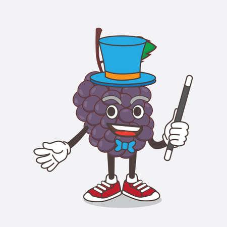 An illustration of Mulberry Fruit cartoon mascot character performance as a Magician Çizim