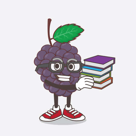 An illustration of Mulberry Fruit cartoon mascot character studying with some books