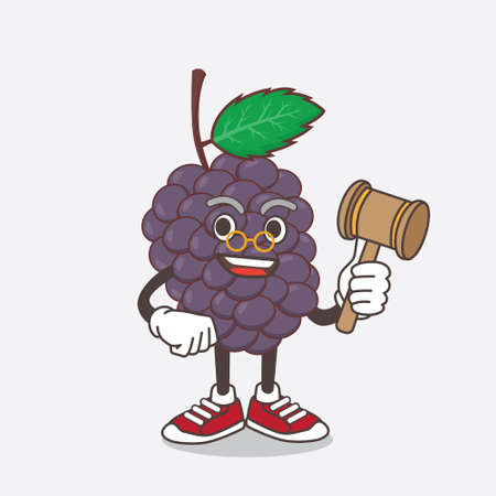 An illustration of Mulberry Fruit cartoon mascot character as wise judge with hammer