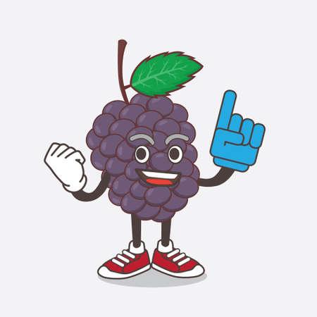 An illustration of Mulberry Fruit cartoon mascot character holding a Foam finger