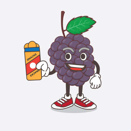An illustration of Mulberry Fruit cartoon mascot character giving snacks