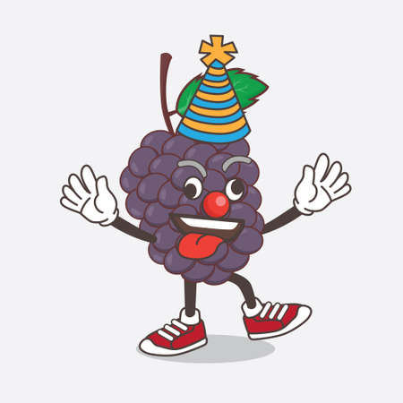 An illustration of Mulberry Fruit cartoon mascot character as funny clown Çizim