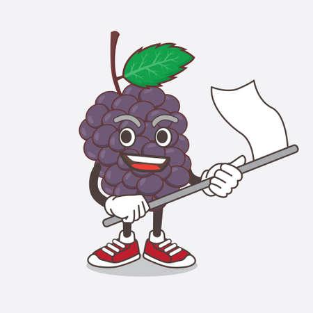 An illustration of Mulberry Fruit cartoon mascot character waving a flag Çizim