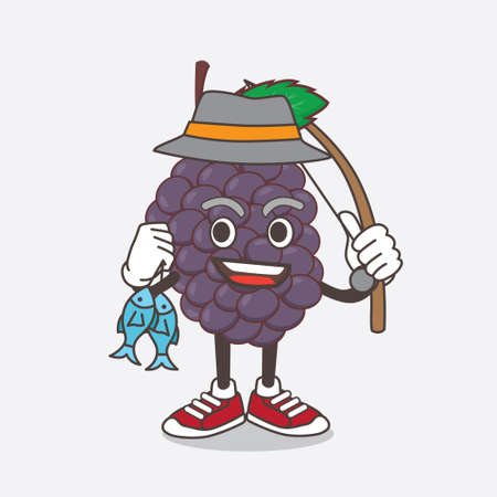 An illustration of Mulberry Fruit cartoon mascot character fishing with 2 fishes
